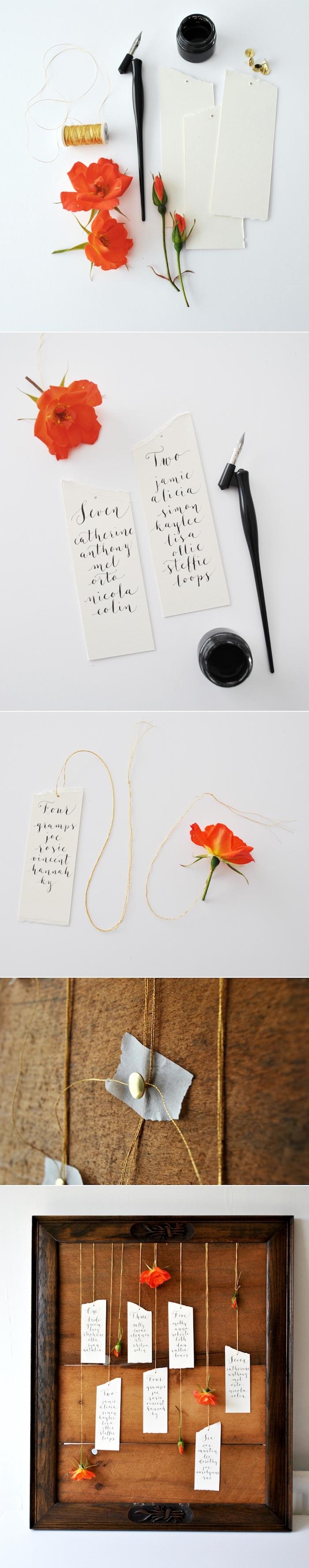 diy mariage, tutoriel pour fabriquer un plan de table original dans un cadre en bois avec étiquettes blanches et fleur rouge pour décoration