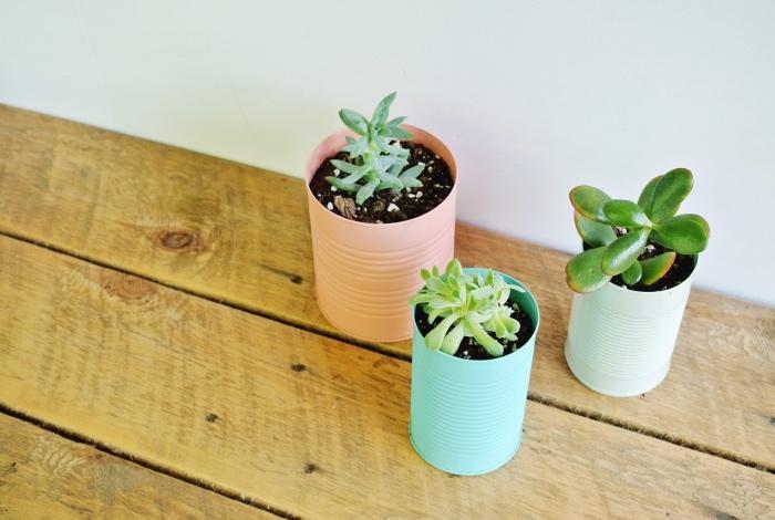 recyclage boîtes de conserve repeinte couleur pastel, idée comment faire un pot de fleur simple