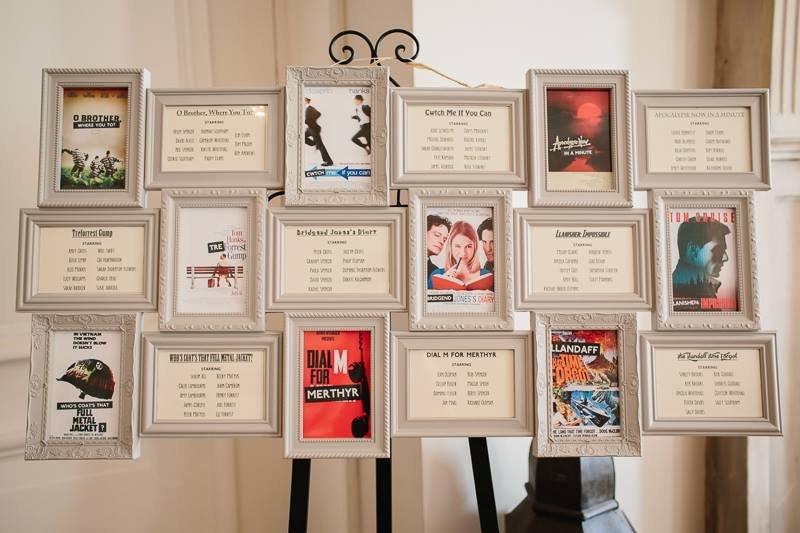 exemple plan de table film, constitué de cadres avec listes des invités ou affiches de cinéma pour films