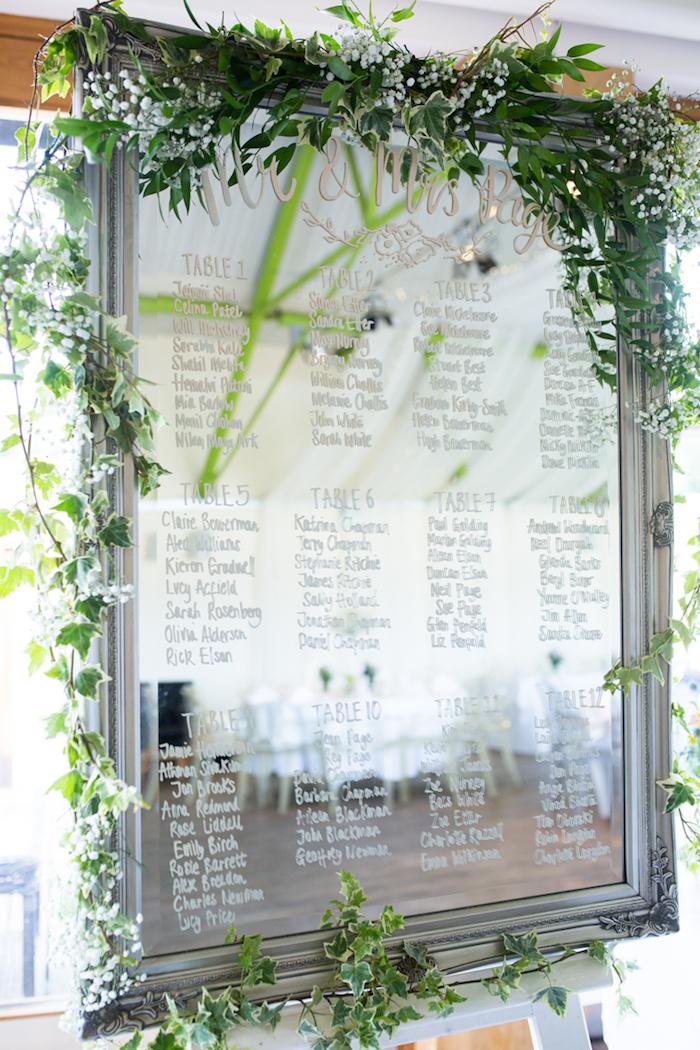 diy mariage plan de table en miroir avec nombre tables et noms invités écrits au feutre blanc pour verre, guirlande verte autour