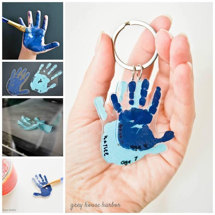 un porte-clé fabriqué à partir les empreintes de main des grands-enfants, idée cadeau grand père originale et sentimentale