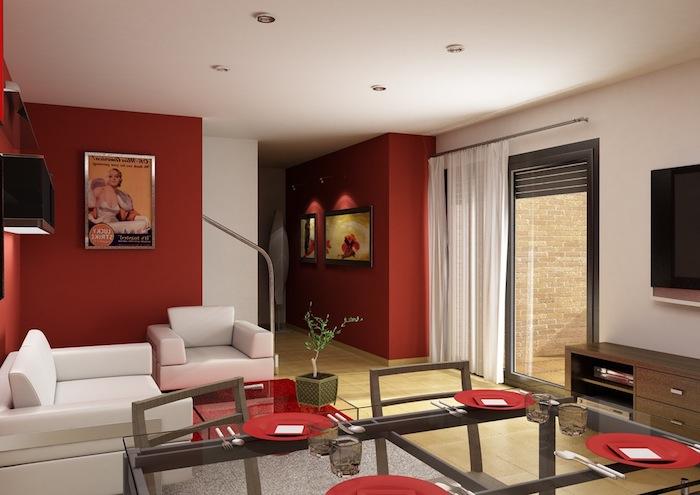 quelle couleur va avec le rouge, canapé et fauteuil blanc, tapis gris, table en verre et chaises en bois, mur couleur rouge, meuble tv en bois