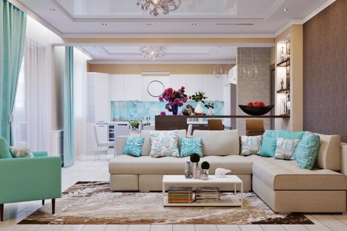 deco salon moderne, canapé et tapis beige, parquet blanc et peinture mur blanche, table basse minimaliste, accents bleus, coussins, fauteuil et rideaux vert d eau, cuisine ouverte sur salon