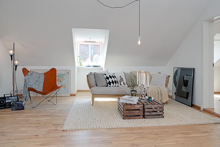 salon style scandinave et idée déco nordique aménagement séjour mansardé