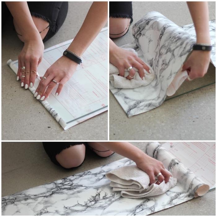 petite astuce déco pour le relooking d un meuble ikea, une table ikea sublimé de papier décoratif à effet faux marbre