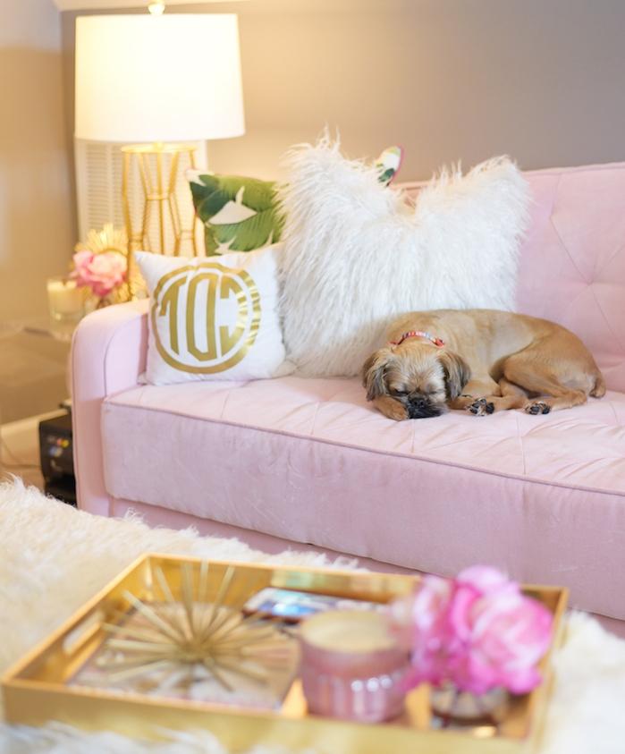tapis blanc en faux fur, canapé en velours couleur rose pastel, coussins décoratifs à design tropicale blanc et vert
