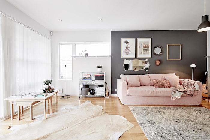 couleur mur salon, tapis moelleux en gris et blanc, cadre photo doré et vide, plaid blanc et rose avec franges