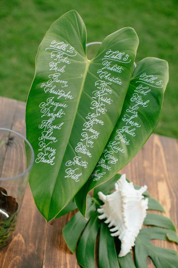 plan de table original en feuilles vertes avec les noms invités écrits dessus, idee deco mariage exotique