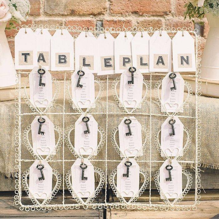 plan de table mariage esthétique. étiquettes banches, clé vintage, coeurs en toile tricotés, fond toile de jute