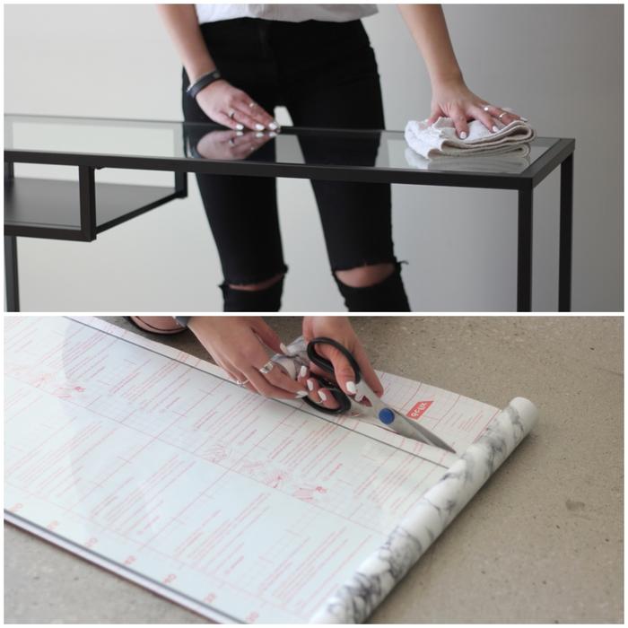 comment relooker un meuble d entrée, idée pour cutomiser une table ikea en verre et métal et lui donner un joli effet marbre