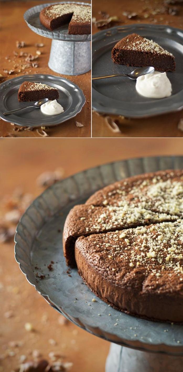 recettes de gâteau marron au four, recette sans gluten de gâteau au chocolat et à la farine de marrons