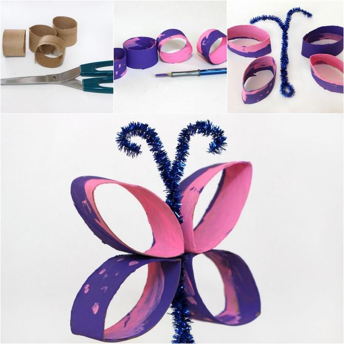 joli papillon réalisé avec un tube en carton, aux antennes en chenilles, idée pour un bricolage en papier maternelle
