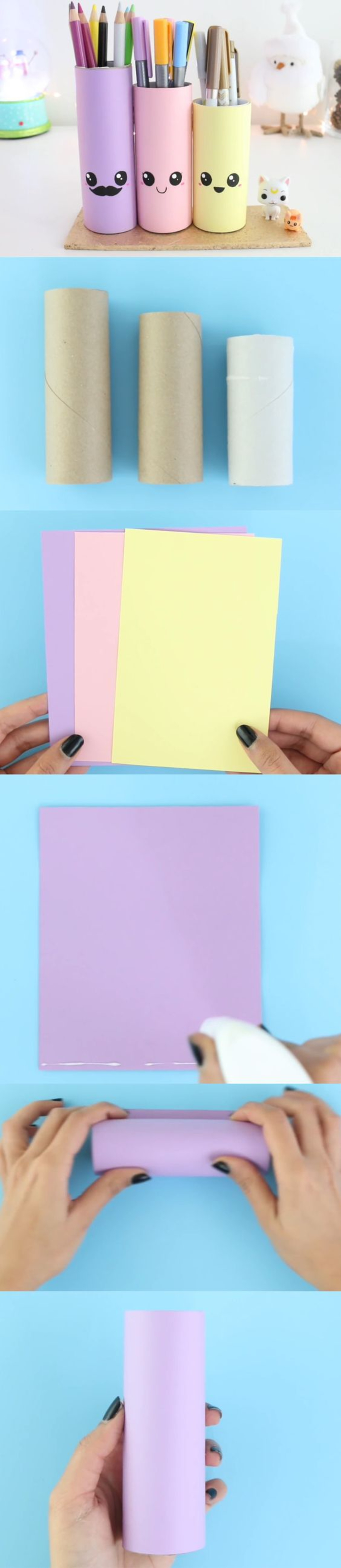 un bricolage en papier pour une rentrée de bonne humeur, un organisateur de bureau en rouleaux de papier recyclés et en papier couleur pastel