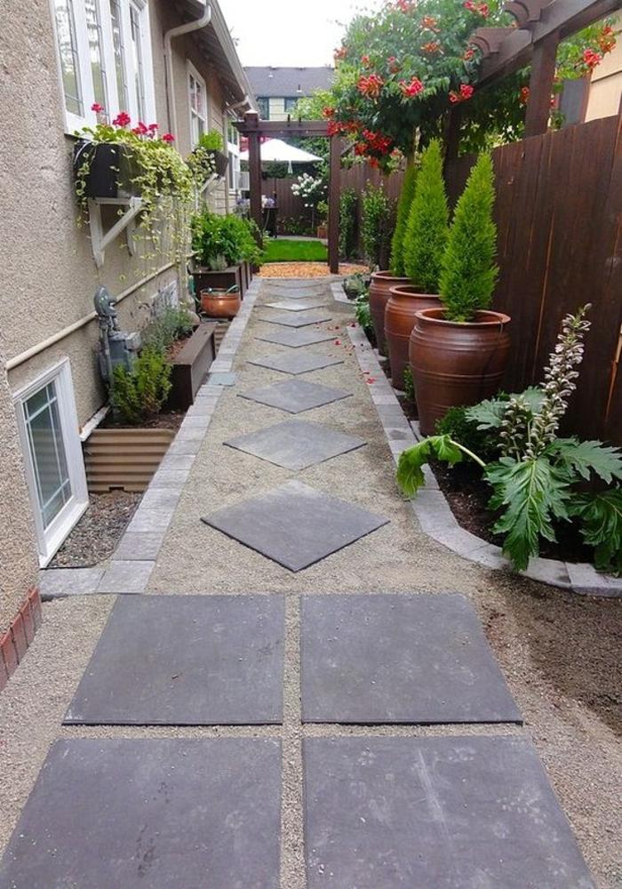 comment aménager son jardin son espace extérieur avec des dalles de jardin et des rangées de plantes qui guident vos pas