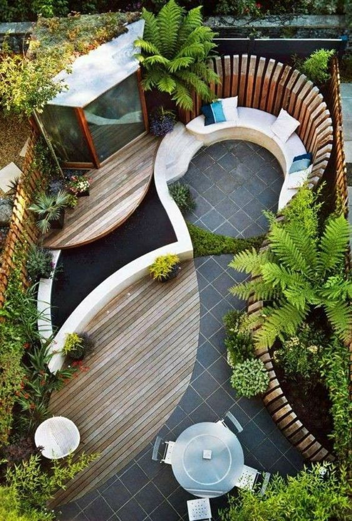 exemple d aménagement de jardin idee amenagement exterieur avec espace coussins
