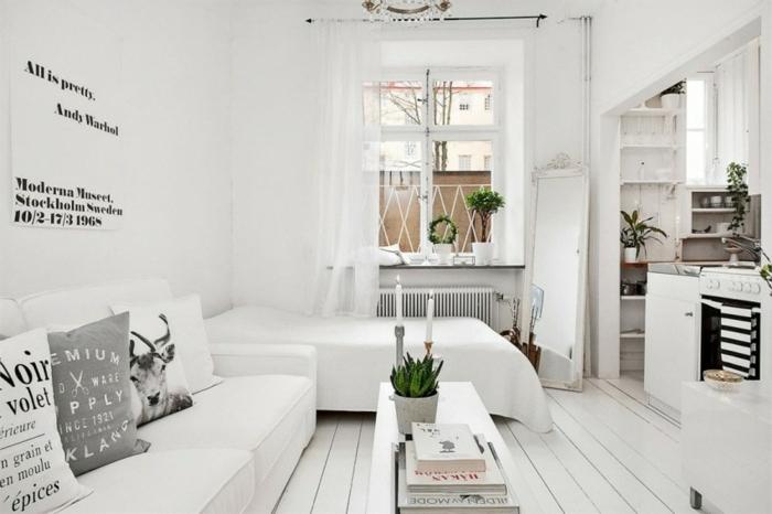 meubles scandinave dans un petit studio blanc, lit et canapé blanc, parquet clair, table basse blanche, façade cuisine blanche, plantes vertes, affiche citation noir et blanc