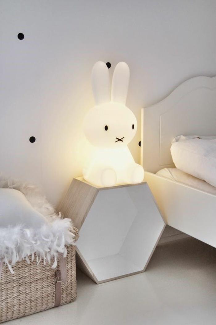 cadeau de naissance original lampe pour la comode du petit en forme de lapin en verre opaque blanc