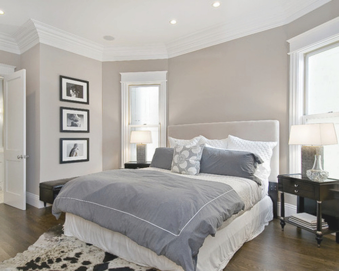 Beautiful idee deco chambre gris ideas awesome interior home with deco chambre blanc et taupe