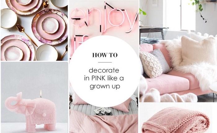 objets décoratifs en nuances rose, salon cocooning aux couleurs blanc et rose, coussins décoratifs et plaid en rose pale