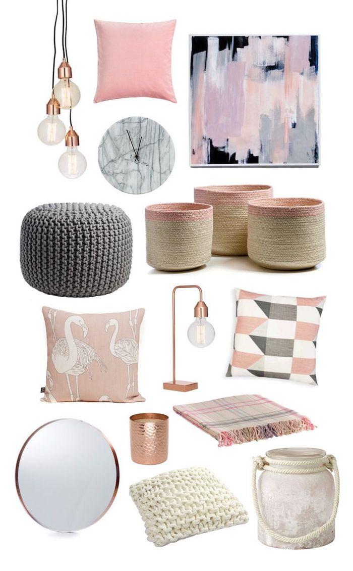 objets décoratifs pour intégrer la couleur rose pastel dans la déco, panier beige et rose pâle