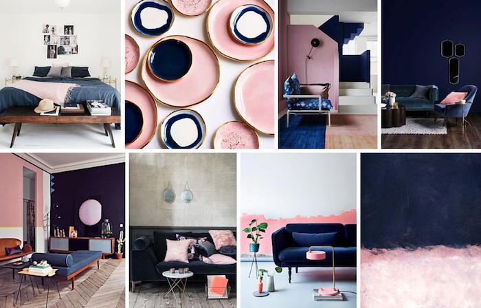 accessoires en rose pastel, idée comment décorer sa maison avec couleurs pastel, combination rose et bleu foncé dans l'intérieur