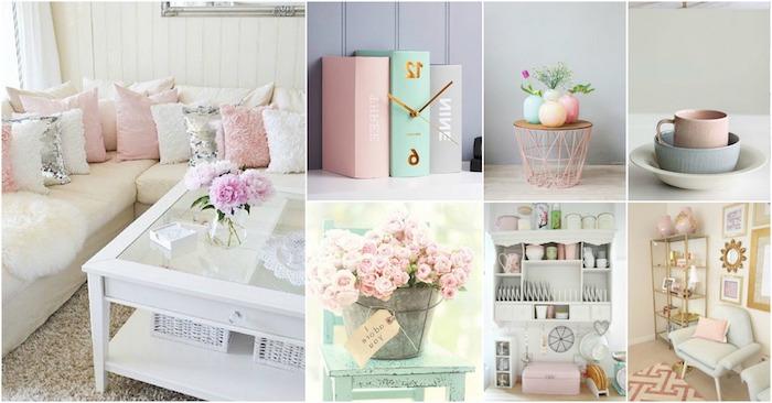esprit shabby chic et vintage dans la déco intérieur, canapé d'angle blanc aux coussins décoratifs rose et blanc