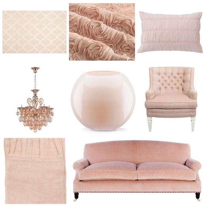 objets pour décorer l'espace, accessoires en nuances rose, tissu et papier peint en rose pale