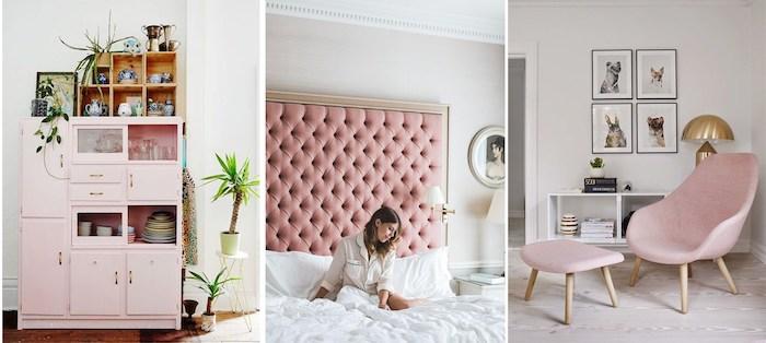 rose pale dans l'intérieur, aménagement salon avec chaise rose et lampe en cuivre