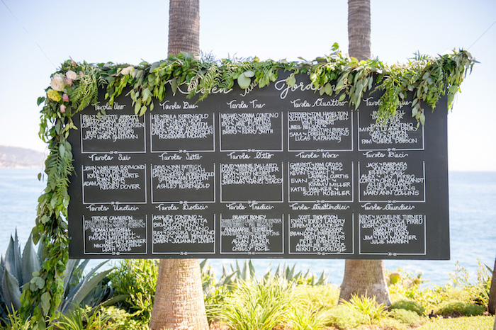 decoration mariage bord de mer exotique avec plan de table sur un tableau noir avec une liste invités écrit en blanc, guirlande florale décorative
