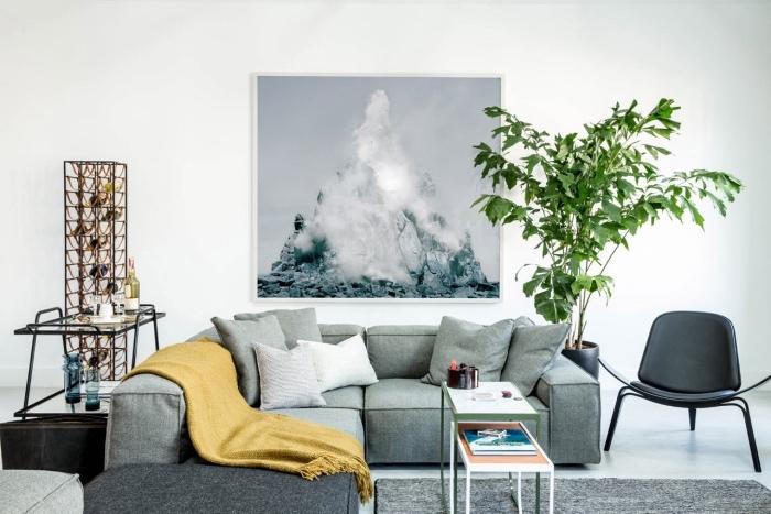canapé et tapis gris, couverture jaune ocre, revêtement sol et mur blanc, plante verte, deco cadre peinture sur le mur