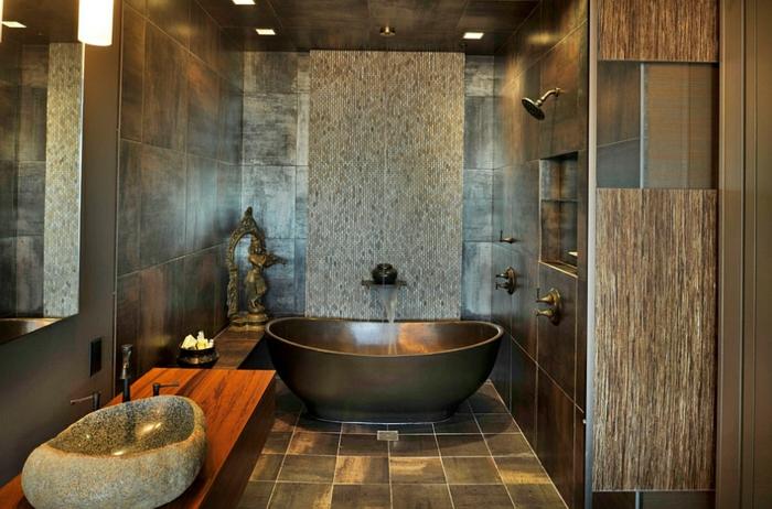 idee deco salle de bain nature comptoir en bois baignoire poser mtalique