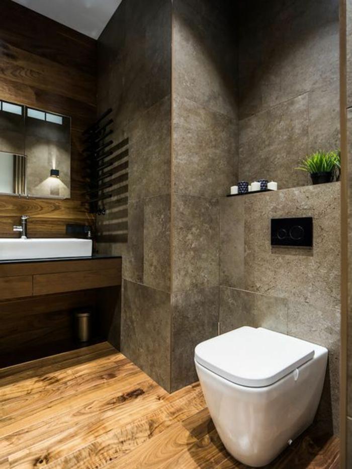 idee deco salle de bain nature, sol en planches, murs en carrelage gris-beige