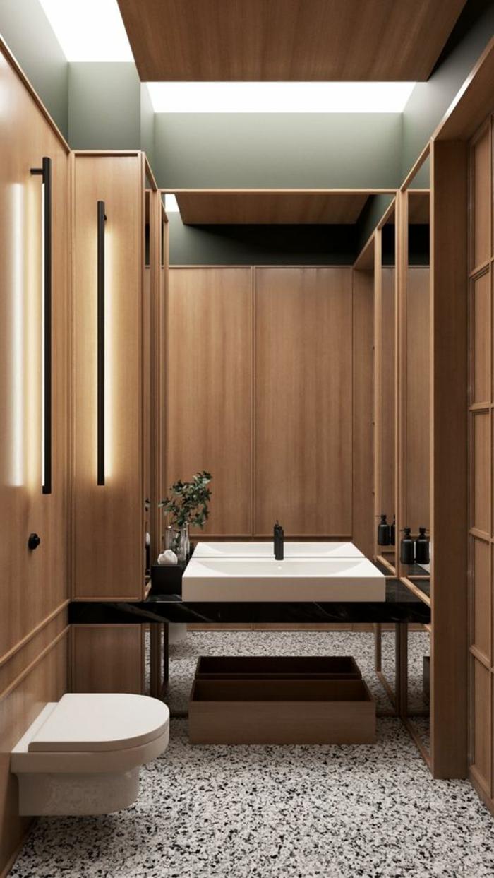 idee deco salle de bain, parement mural en bois, vasque blanche rectangulaire, sol en ciment