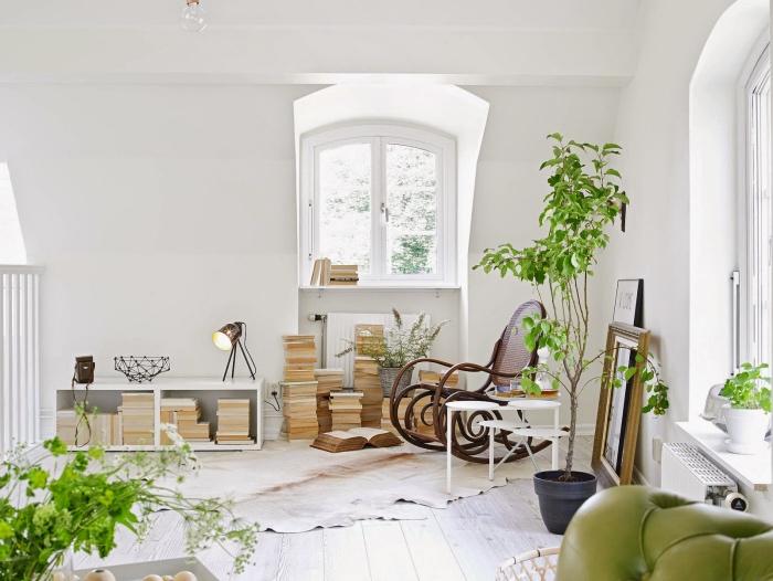 salon cocooning blanc avec peau animal blanc et marron, plante verte, piles de livres, parquet clair