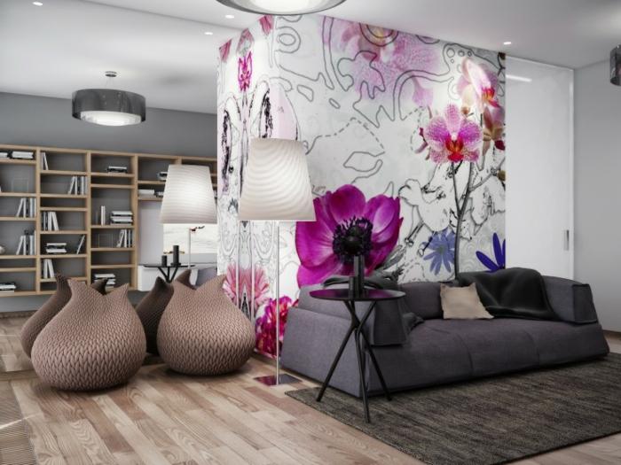 idee deco salon, poufs couleur taupe, lampes blanches, étagère en bois, sofa gris