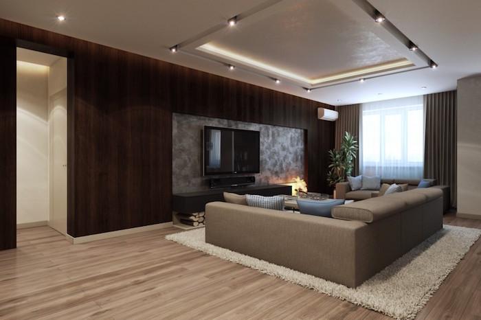 chambre beige et taupe couleur bistre peinture salon marron