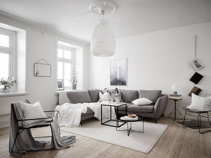 sejour scandinave épuré style nordique blanc et gris