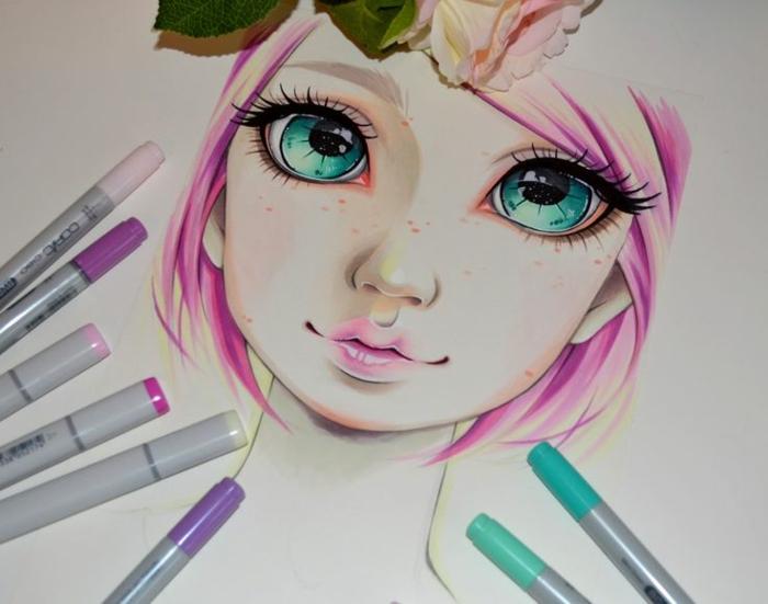 Ravissant dessiner une fille personnage dessin animé fille beauté magnifique idée cheveux roses et blondes
