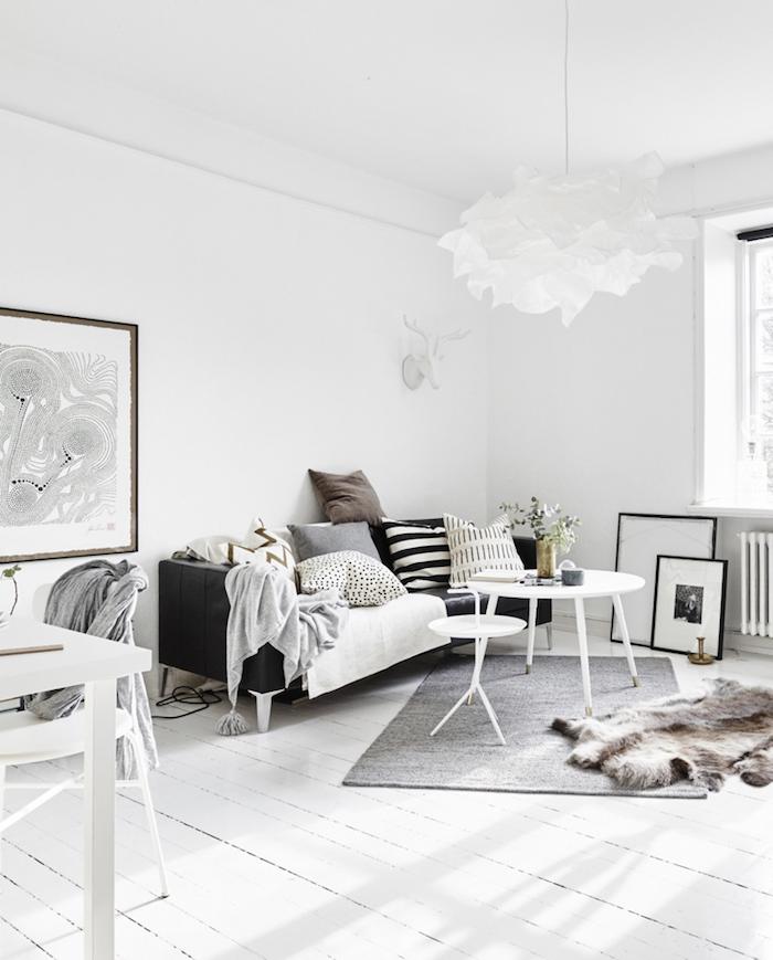 décoration sejour scandinave murs blanc gris noir style nordique