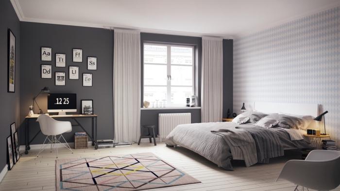 deco esprit scandinave, mut couleur gris anthracite, linge de lit gris, parquet clair, coin travail, vureai en bois et chaise scandinave