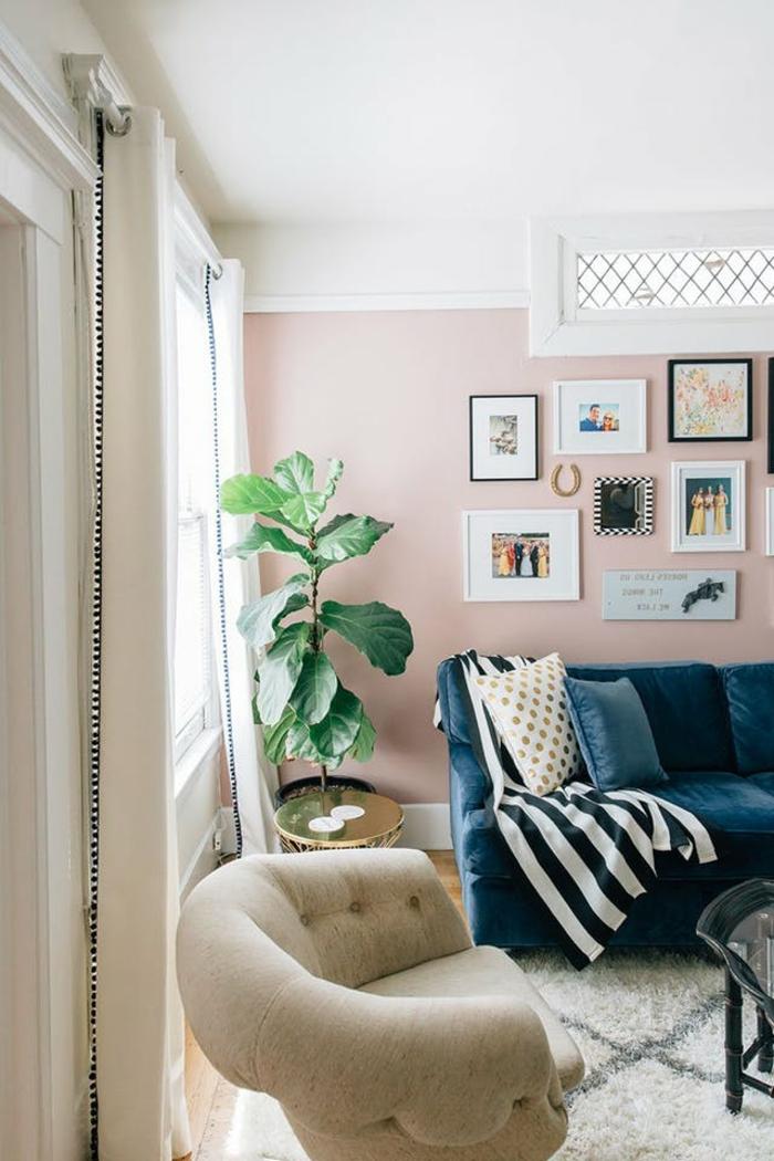 idee salon, tapis marocain, plante verte, mur rose avec plusieurs photos et images encadrés