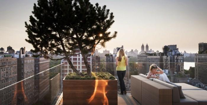 idée pour aménager une terrase moderne, zen bac a fleur en bois avec arbres, canapé beige avec coussin d assise gris
