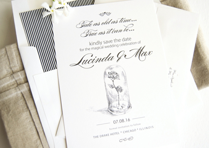 Faire part mariage simple et chic faire part disney conte de fee belle et la bete