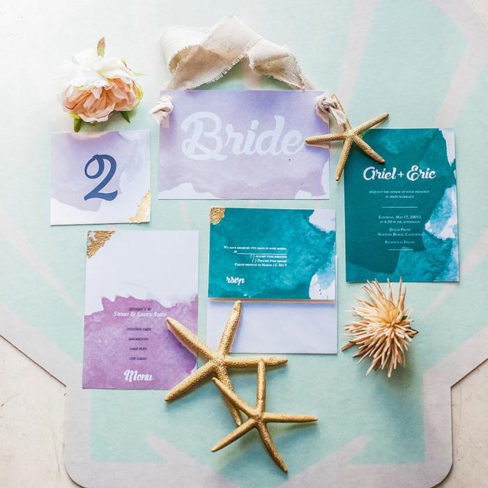 faire part mariage bleu et blanc mermaid idée de la petite sirène mariage theme