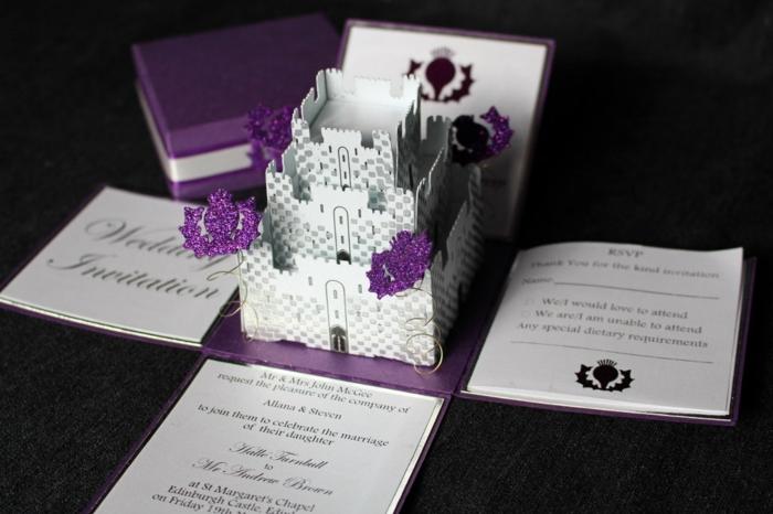 Carte invitation disney faire part mariage conte de fée idées chateau 3d