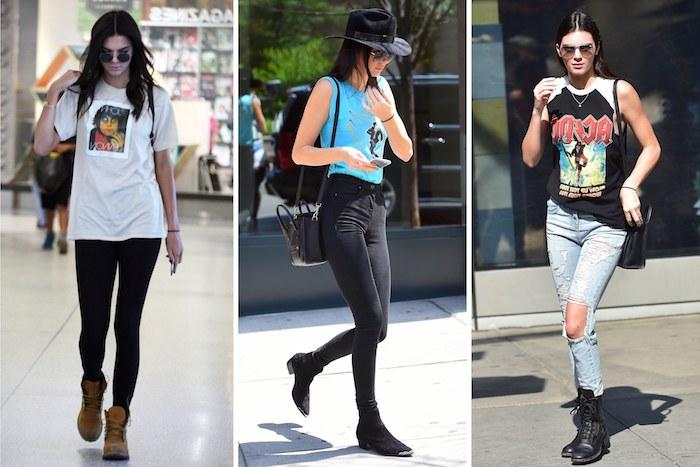tenue rock, looks avec bottines pour femme, t-shirt blanc et pantalon slim noir, débardeur bleu clair avec jeans foncés