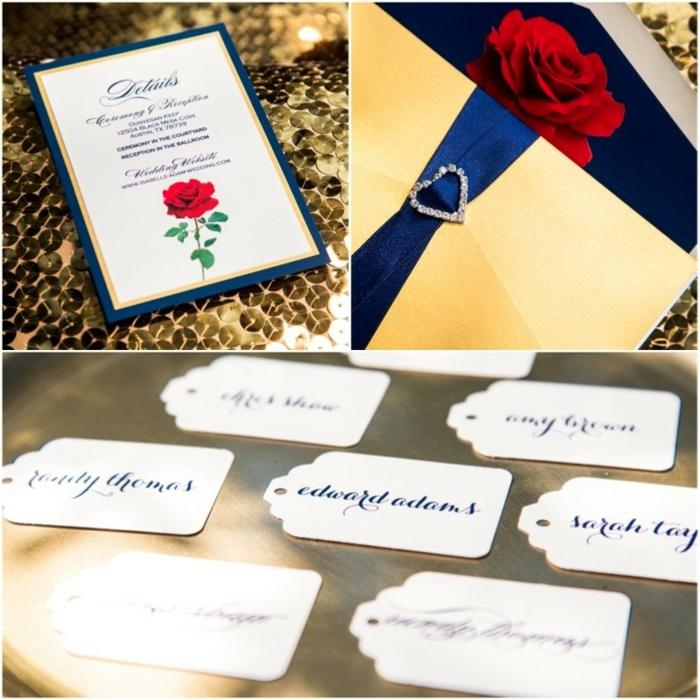 Amour mariage faire part mariage disney idée invitation rose rouge belle et la bete