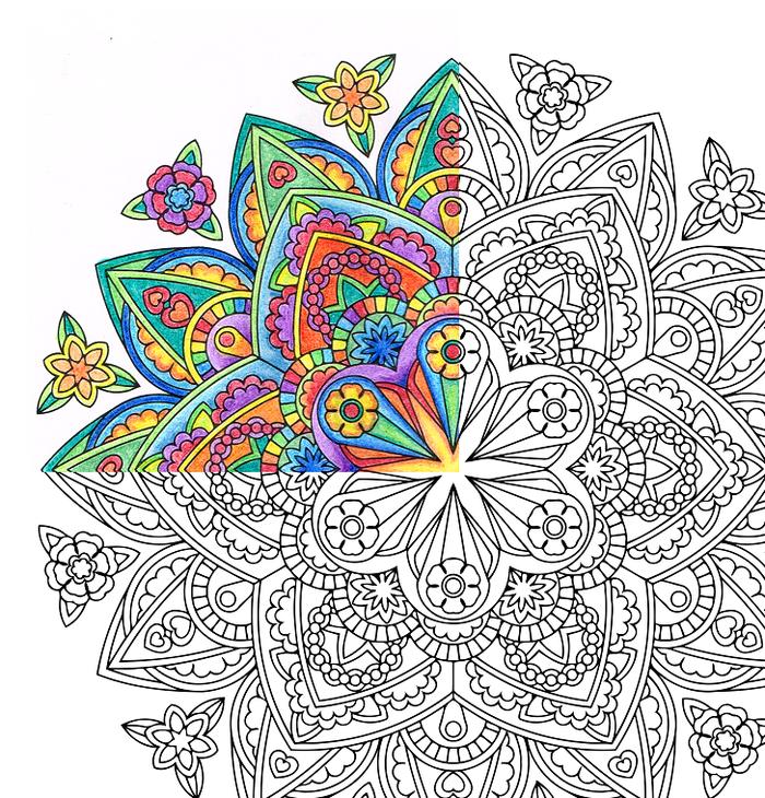 exemple de coloriage de mandala au design en fleurs symétriques aux crayons