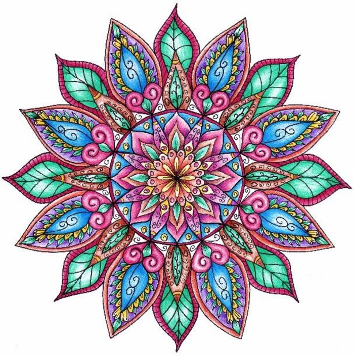 un dessin zen en forme de mandala colorié au motif central fleur bordée de feuilles