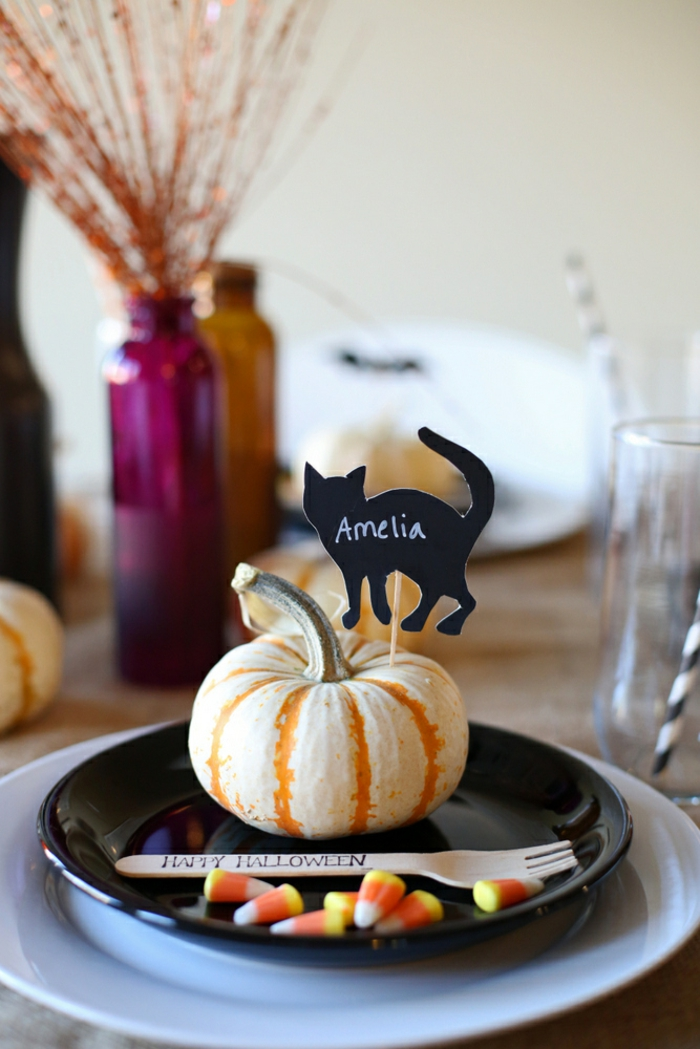 Support menu mariage porte nom original inspiration diy Halloween table déco